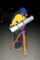 "Andy using Primero, his handmade (by himself) 6"" f/5 to compete in the 2009 Messier Marathon at the VIS."