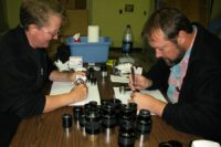 Andy and I methodically cleaning all of the eyepieces for the VIS .
