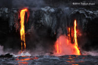 Lava forging new paths on its quest to join with the ocean waters.